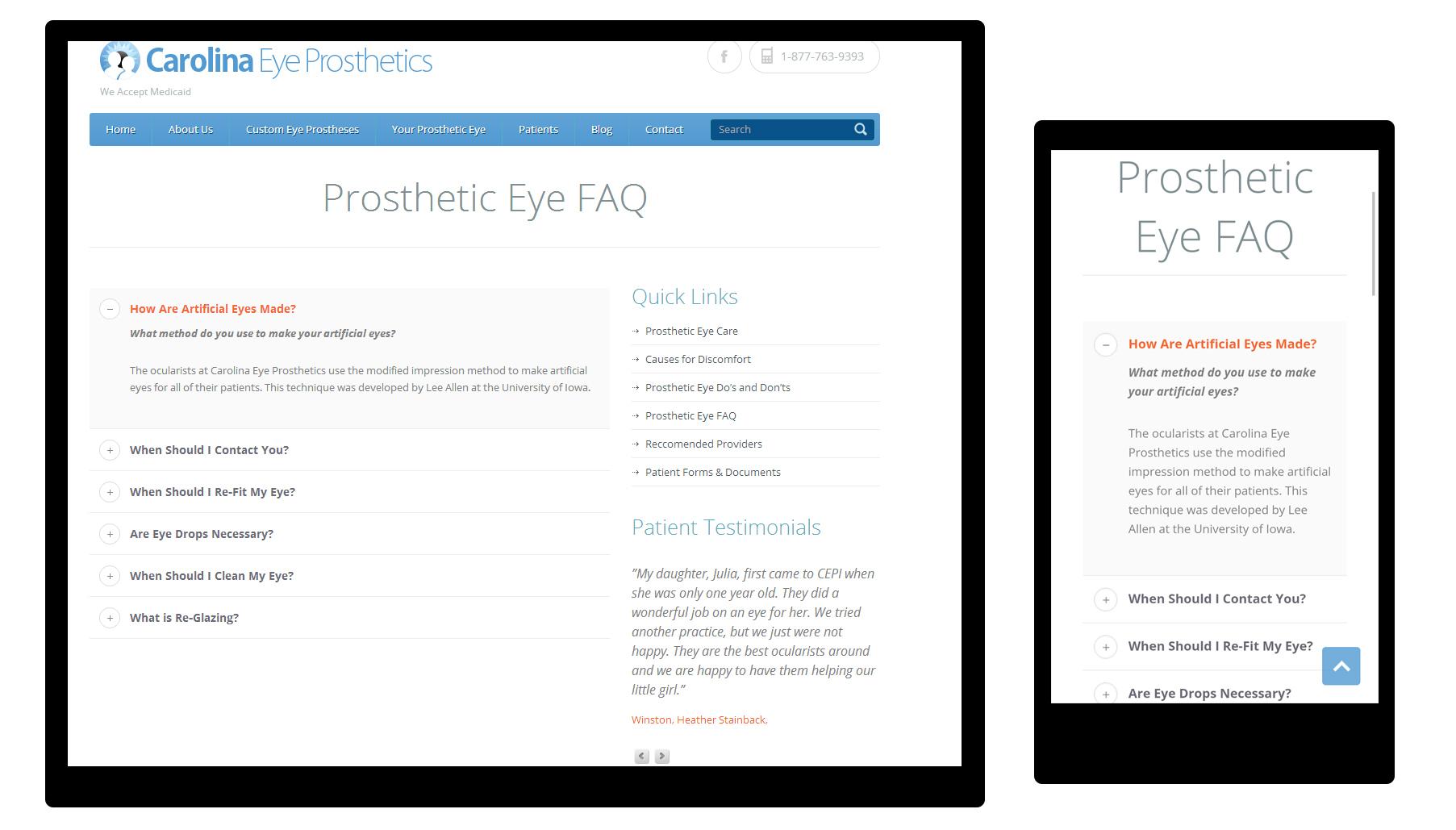 responsive web design  carolina eye prosthetics