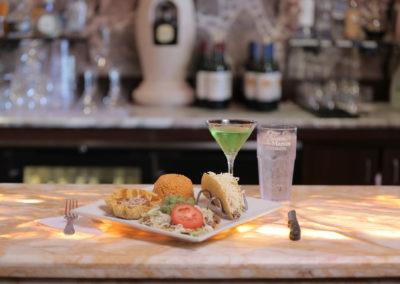 bar,-martini-and-food-at-restaurant
